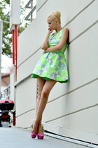 silver floral print Topshop dress - lime green H&M accessories