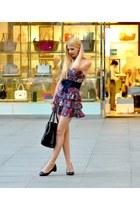 black leather Prada bag - floral print Zara dress - black leather Zara flats