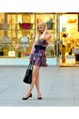 Ruby-red-floral-print-zara-dress-black-leather-prada-bag