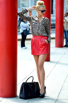 leather Prada bag - Gucci sunglasses - animal print Zara blouse