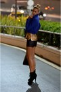 Black-suede-bebe-boots-blue-koton-jacket-gold-zara-sweater