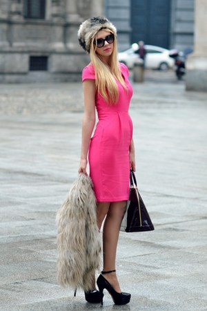 leather Louis Vuitton bag - hot pink H&M dress - faux fur Accessorize hat