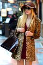Black-prada-sunglasses-crimson-zara-dress-camel-mango-coat