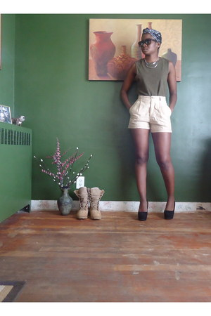 silver Forever21 necklace - neutral thrifted shorts - black Claires sunglasses