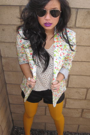 purple mac accessories - white hnm top - gold Gap tights - red Urban Outfitters