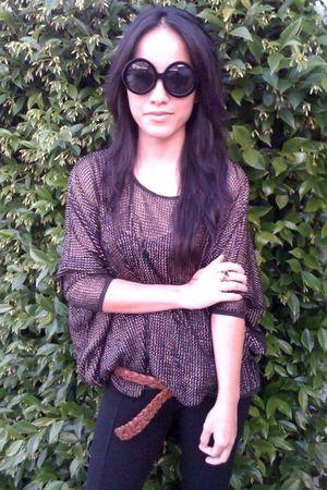 gray hnm blouse - black Zara leggings - brown vintage belt