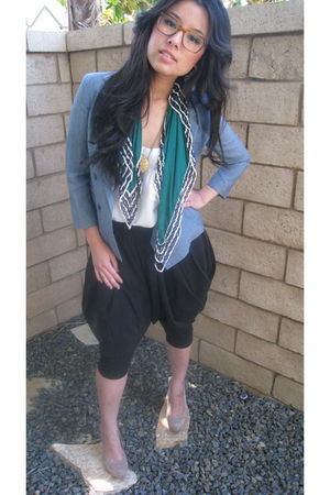 brown oliver people accessories - black Forever21 pants - green armani scarf - w