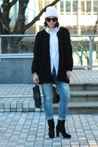 black suede Rachel Comey boots - light blue ripped Gap jeans
