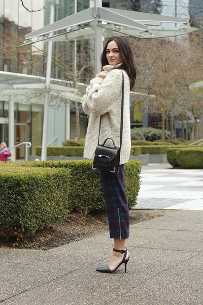 leather Mackage bag - plaid Babaton pants - wool wilfred jumper