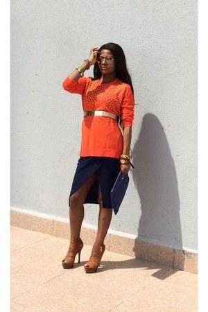 Michael Kors cardigan - tory burch sunglasses - Lapis skirt - Michael Kors heels