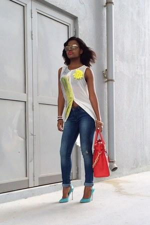 Stradivarius jeans - Mr Price shirt - Michael Kors bag - Casadei heels