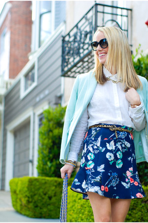 navy Zara skirt - aquamarine J Crew jacket - white linen collared J Crew shirt