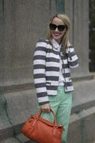 mint eyelet J Crew pants - Zara jacket - linen white J Crew shirt