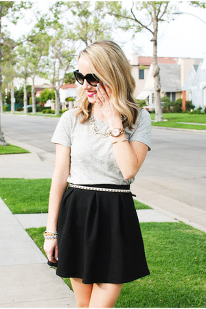 black cat eye Prada sunglasses - black skater textured H&M skirt