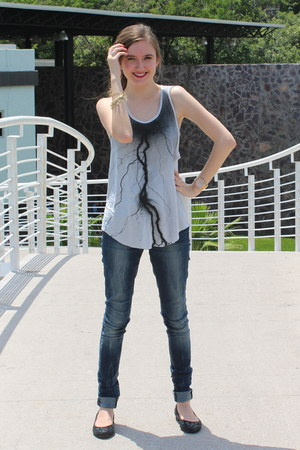 black youreyeslie top - Zara jeans - Nine West flats - Guess watch