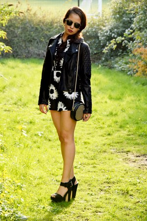 Topshop jacket - vintage sunglasses - Missguided bodysuit - Topshop sandals