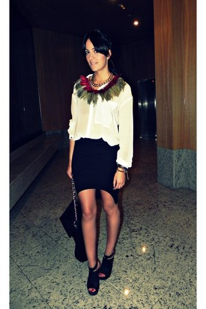BLANCO skirt - Mango shoes - Zara shirt - Zara bag - feathers myself necklace