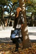 black Aldo boots - blue Hudson jeans - black American Apparel shirt - gray aberc
