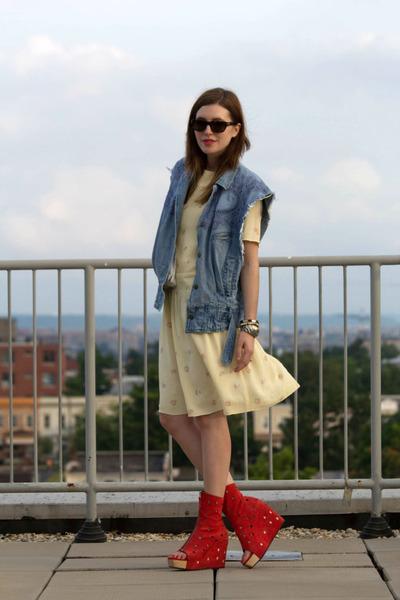 SoleStruck boots - La Petite Marmoset dress - denim La Petite Marmoset vest