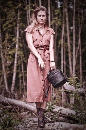 black San Marina shoes - brown vintage dress - black vintage bag