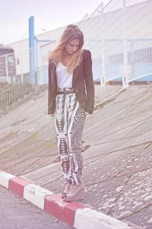 tan new look wedges - black Bershka blazer - black H&M pants