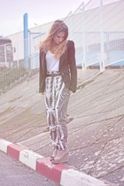 tan new look wedges - black Bershka blazer - black H&M pants