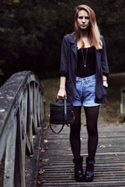 black vintage bag - gray Primark blazer - sky blue Levis shorts