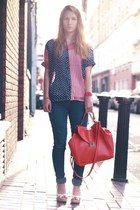 Ebay shirt - blue H&M jeans - hot pink Zara bag