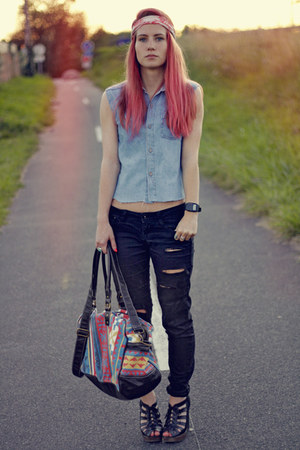 red River Island bag - black Newlook shoes - black Bershka jeans