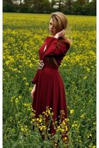 red vintage dress - red vintage coat