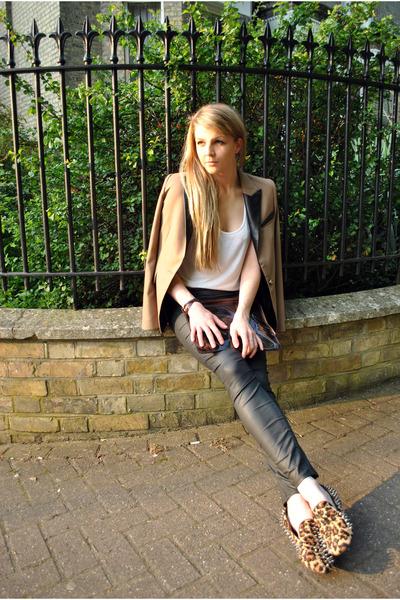 camel Sheinside shoes - black faux leather River Island leggings