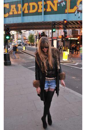 black vintage coat - black quicksilver top - beige Waltons belt - black Henry Ho