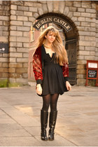 black riding boots ted baker boots - black vintage Jeff Banks dress