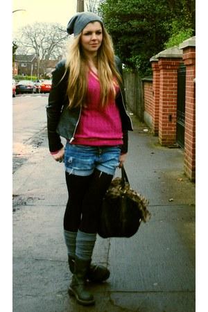black Topshop jacket - hot pink christian dior sweater - blue DIY shorts - charc