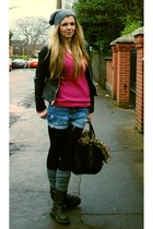 black Topshop jacket - hot pink christian dior sweater - blue DIY shorts - charc