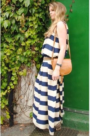 navy  white stripes Primark dress - beige new look boots - tan vintage bag