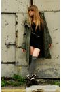 Green-topshop-coat-black-h-m-dress-gray-river-island-socks-brown-river-isl