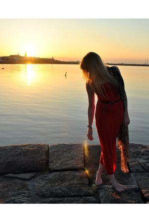red Topshop dress - black vintage belt - gold thrifted scarf - blue River Island