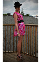 black vintage hat - pink vintage dress - black Topshop belt - black thrifted bel
