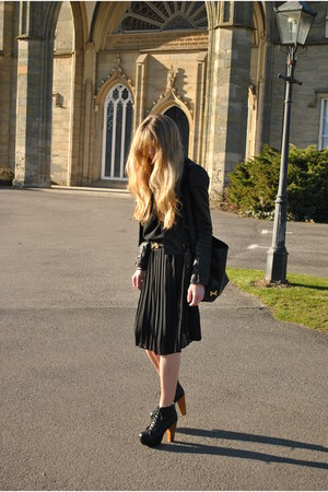 black Korkys boots - black Once Removed Vintage dress - black Topshop jacket
