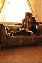black vintage coat - beige Topshop dress - brown vintage belt - green US Army Su