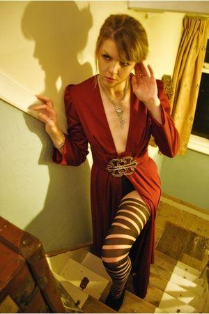 red vintage coat - black Wolford tights - black Topshop shorts - black KG by Kur