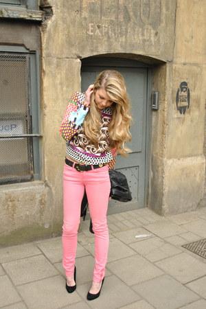 black faux suede Primark shoes - hot pink skinny Dr Denim jeans