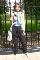Stradivarius pants - Top Shop top - hazel shoes - H&M scarf