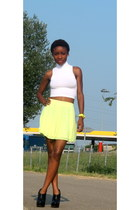 light yellow H&M skirt - white asos top - black asos heels