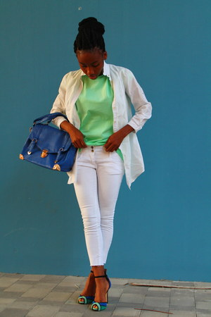 white asos pants - blue Primark bag - aquamarine asos t-shirt
