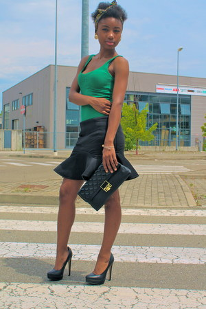 black River Island bag - black new look skirt - green Bershka top