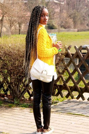 black River Island shoes - yellow Zara sweater - white H&M bag - black pants
