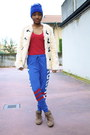 Blue-primark-hat-cream-asos-jacket-red-zara-top