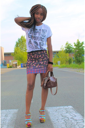 brown vintage bag - salmon Zara skirt - light blue asos sandals